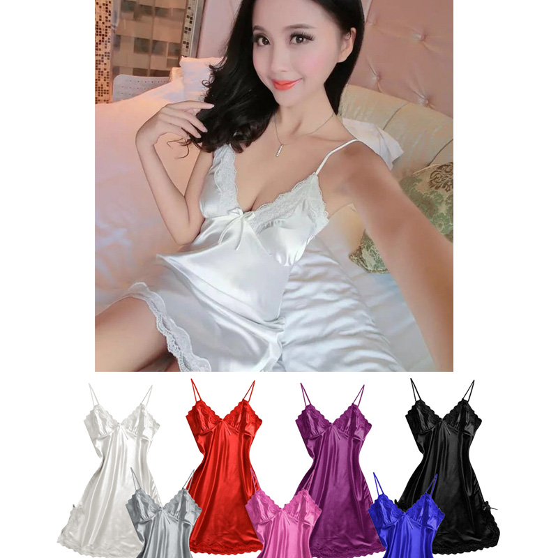Women Satin Nightgown Sexy Lingerie Sleeveless Lace Chemise Nightdress Girl White Sleepwear Chemises Full Slip Babydoll