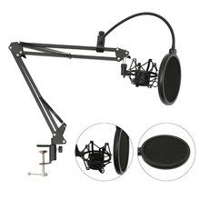 Microphone Scissor Arm Stand Holder Tripod Microphone Stand With A Spider Cantilever Bracket Universal Shock Mount