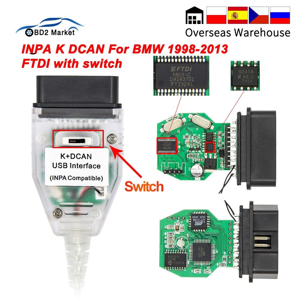 Для BMW INPA K DCAN USB интерфейс с переключателем K-line OBD OBD2 Диагностический кабель INPA K + DCAN K линия FTDI для BMW авто инструмент