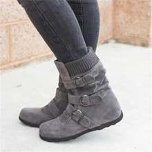Женские ботинки с пряжкой теплые плюшевые до середины икры на