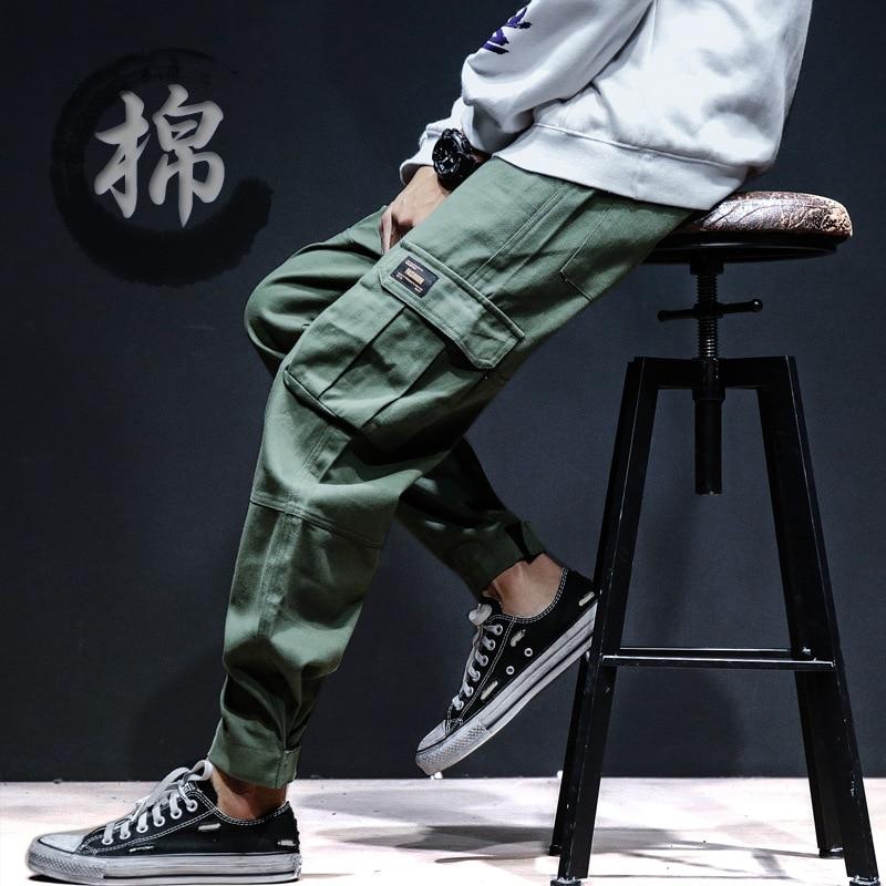 Summer Japanese-style Bib Overall Men's Elastic Waist Beam Leg Casual Athletic Pants MEN'S Trousers Harem Pants Micro For 2019