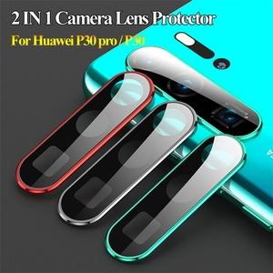 Luxury Camera Lens Protector 9H Tempered Glass Film Metal Protective Ring Cover HD Screen Guard Case for Huawei P30 pro Lite