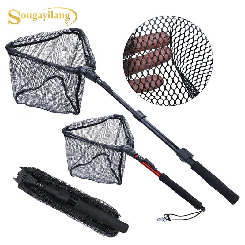 Sougayilang rede de pesca liga de alumínio 70cm 95cm 120cm telescópica dobrável landing net retrátil para carpa/pesca com mosca equipamento