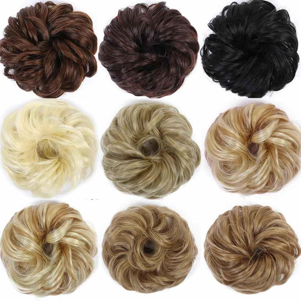 Allaosify mujeres Donut Chignon pelo bollo Donut Clip en extensiones de cabello sintético extensiones de cabello de alta temperatura bollo rizado