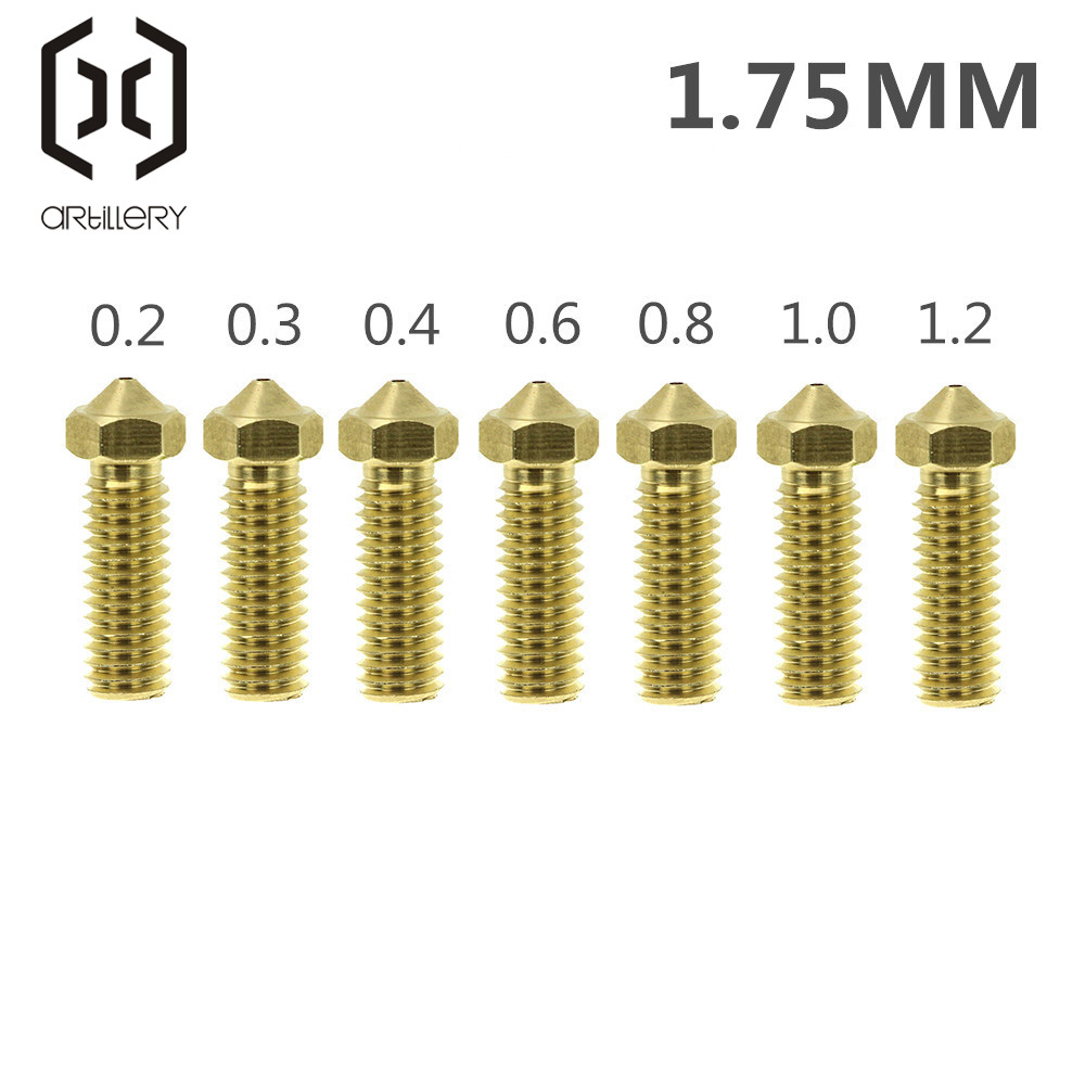 Volcano Nozzles 3D Printer All Metal Brass 3D Lengthen Extruder Nozzle 0.2/0.3/0.4/0.6/0.8/1.0/1.2mm For 1.75 Supplies