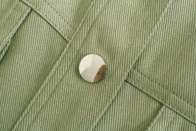 Toppies Green Cotton Shirt Jacket Button Down Loose Coat Women Long Sleeve Pockets Jacket Streetwear 5