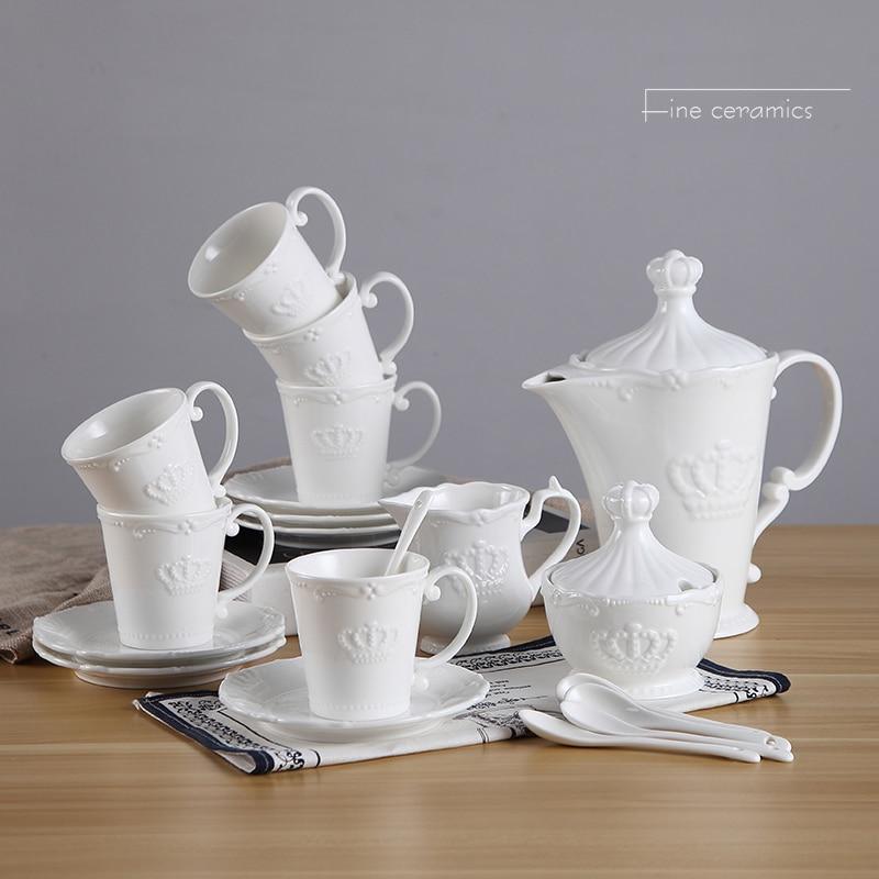 21pc set, white embossed porcelain coffee pot cup set, court crown design court, palace nespresso cup set, vintage tea party