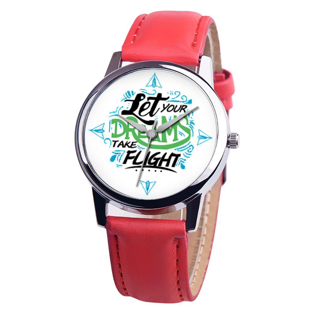 Let Your Dreams Take Flight Letter Dial Faux Leather Band Quartz Wrist Watch Horloge Clock Relojes  Ladies Dress Watches Gift Lu