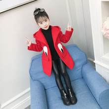 2019 Kids Girl Overcoat Winter New Fashion Wool Coat for Girls Teens Autumn Jacket Warm Long Outerwear Children Windproof 2(China)