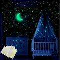 338 шт. светящиеся звезды наклейки с Луной ПВХ Наклейка на стену для Спальня Гостиная украшения дома наклейки зеленый