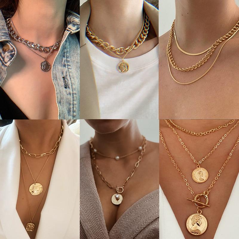 17 км многослойная длинная цепочка ожерелье из золотых монет для женщин, подвеска с подвеской в виде цветка для портретной цепи, ожерелья 2020, ...