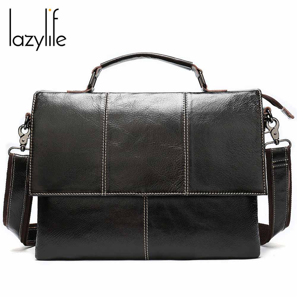 LAZYLIFE Briefcases Men Big Totes Genuine Leather Handbag Zipper Male Business Hasp Pocket Soft Handle Bags