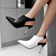 Sandalias de verano puntiagudas, zapatos de mujer, botines sexis de gladiador de tacón alto, botines de fiesta rojos de retales, zapatos de mujer de gran tamaño
