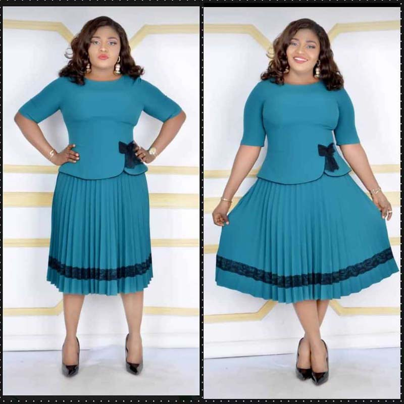 Elegant Two Pieces Set Pleated Skirt Suit African Clothes Women O-Neck Top&Pleated Skirt Set Office Lady Dress Autumn Robe
