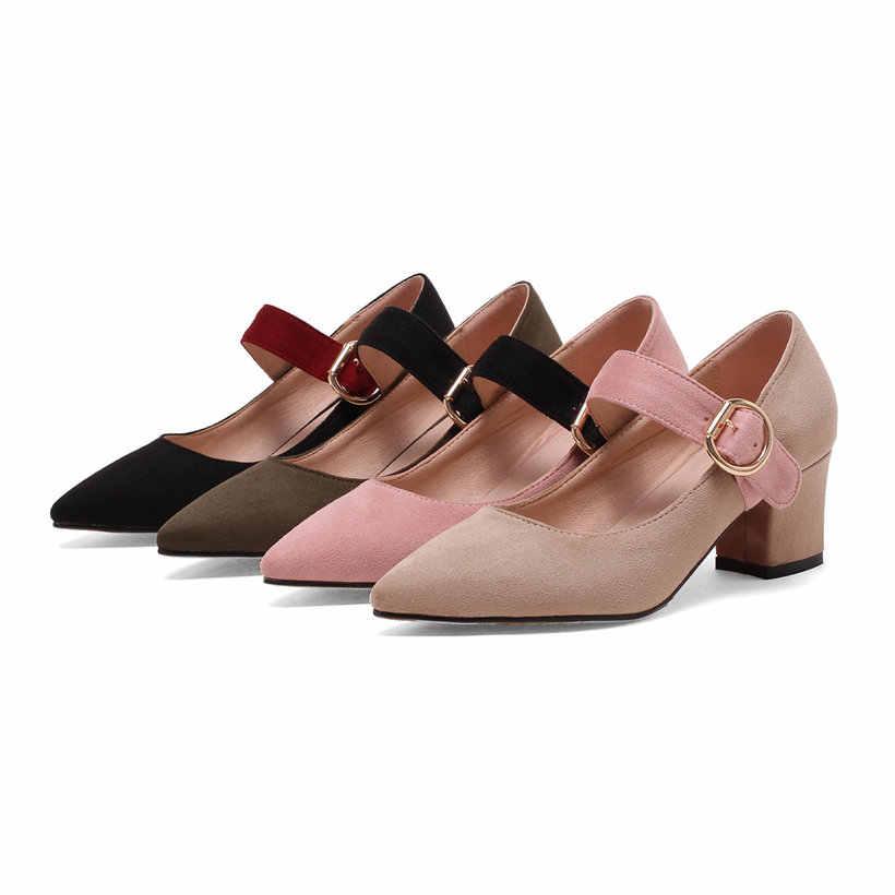 ผู้หญิงปั๊ม 5.5 ซม.สแควร์รองเท้าส้นสูงชี้ Toe Mary Janes สีดำสีเบจสีชมพู Flock งานแต่งงานชุดผู้หญิงสำนักงานหัวเข็มขัดรองเท้า