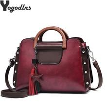 New Fashion PU Leather Women Bag Tassel With Stars Decor Han