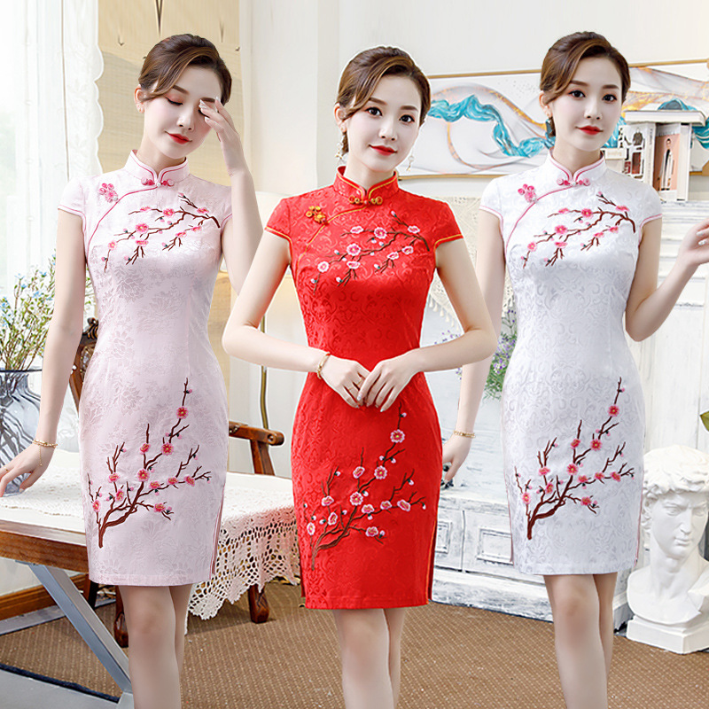 Cross Border Improved Cheongsam 2019 New Style Cotton Linen Short Sleeve Cheongsam Young GIRL'S Formal Dress Retro Dress Wholesa