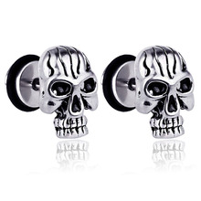 MINCN earrings titanium steel retro skull punk hip hop rock tide Halloween ghost head personalized jewelry