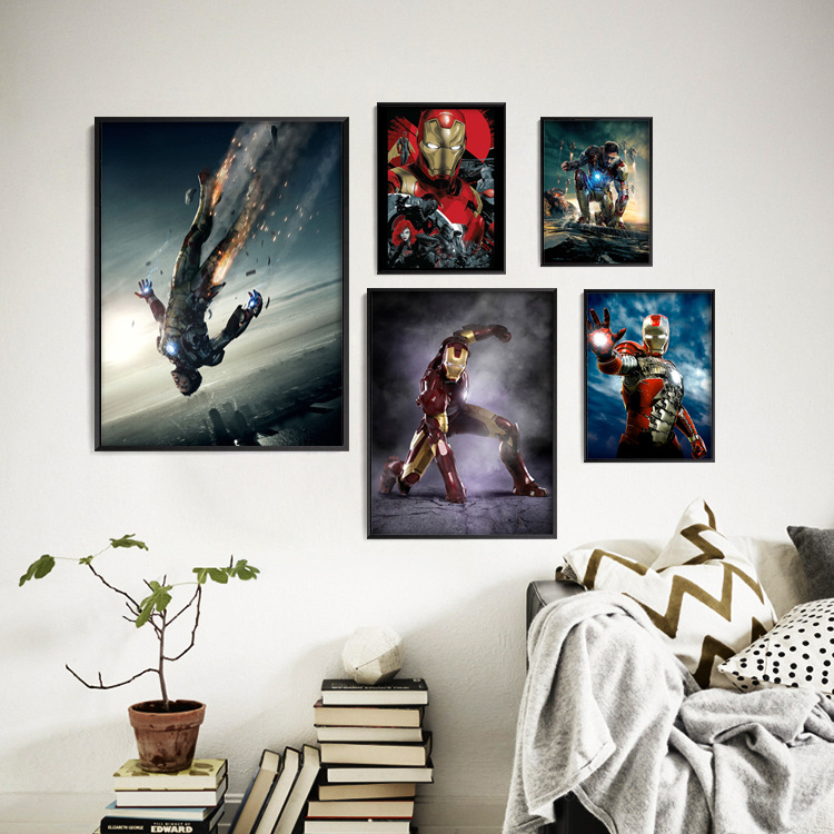 Movie Iron Man Series HD Poster Hanging Painting Marvel Animated Decorative Painting Entrance Bedroom Desk Soft Home Decoration image