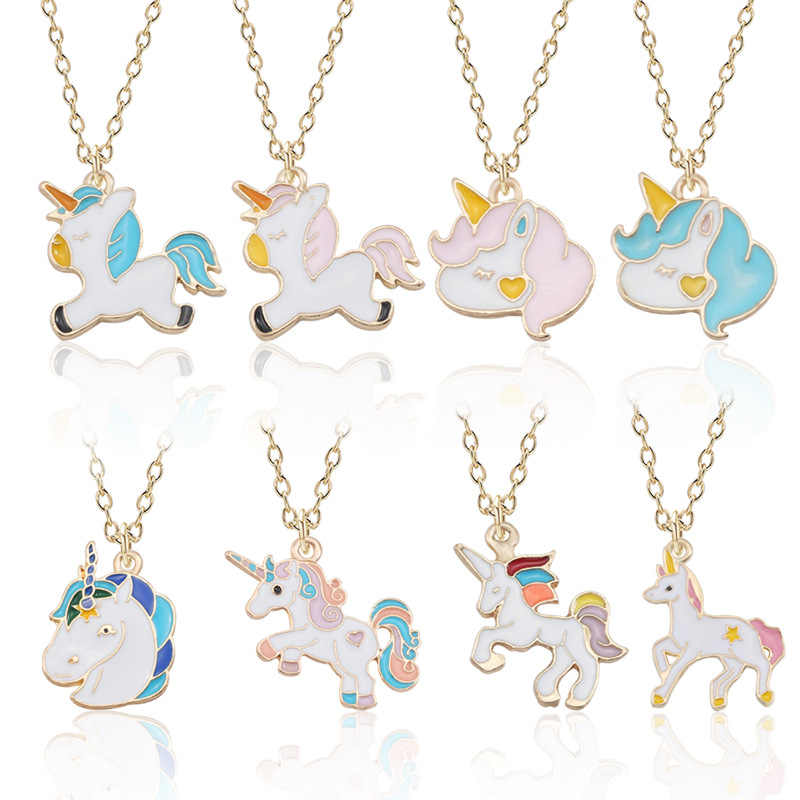Dropshipping Fashion Unicorn Pendant Necklace Best Friends Kawaii Cute Necklace Golden Chain Choker For Women Girls Gifts