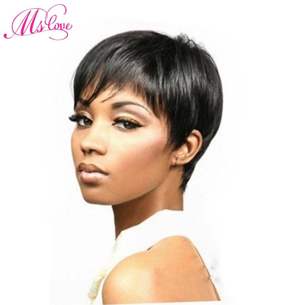 Ms Love Short Straight Human Hair Wig Natural Color 1b Human Hair Wig Non Remy Brazilian