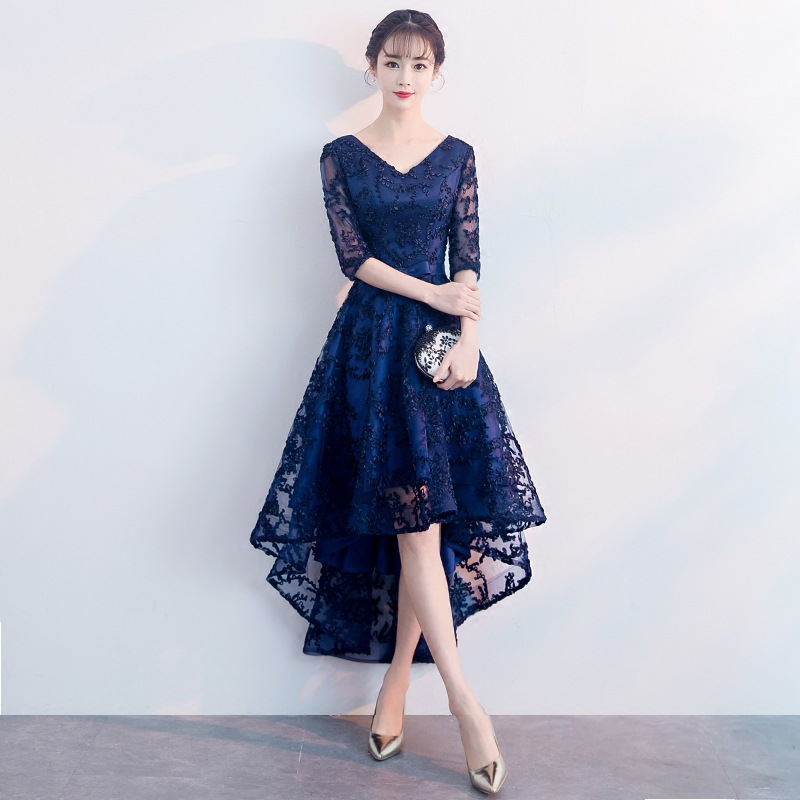 Sexy Slim lace Appliques Asymmetric Hems Illusion Zipper improved cheongsam Chinese evening dress Vestidos Size S-XXL