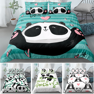 Cute Panda 3D Bedding Set Comfortable Duvet Cover Pillowcase Single Twin Full Queen King Size Bed Sets 2/3pcs Luxury Kids Beds