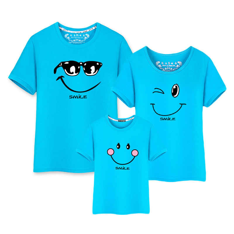 Smile Tshirt New Born Baby Boy Clothes Summer Korean Fashion Clothing Sets Matching Couple Outfits Family T Shirt Son Mom Dad