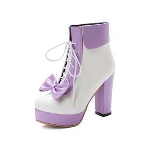 Image 2 - YMECHIC Mode 2019 Winter Lolita Schoenen Lace Up Hoge Hakken Platforms Leuke Boog Zoete Roze Paars Groen Geel Enkellaarsjes vrouwen