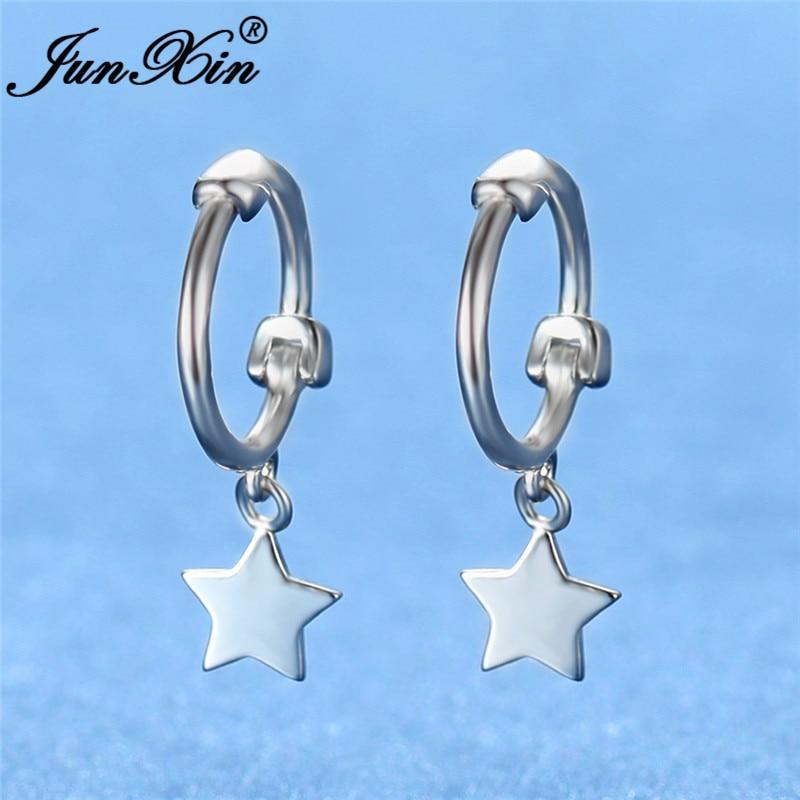 Minimalist Mini Ear Bone Earrings Cute Small Star Hoop Earrings For Women Men White Gold Filled Earrings Girls Daily Jewelry
