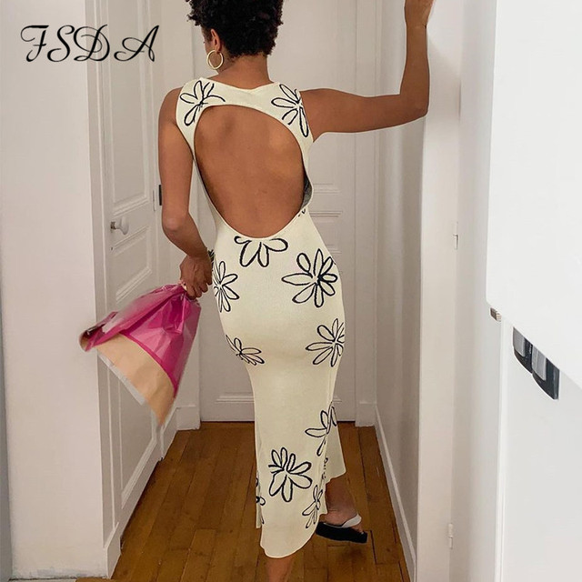 FSDA 2021 O Neck Knitted Bodycon Dress Women Summer Split Backless Sleeveless Y2K Beach Sexy Midi Party Dresses 1