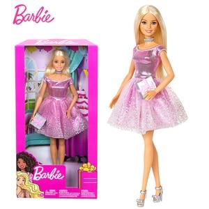 2019 Refined Genuine Barbie Birthday Doll Shiny Pink Dress Children's Toys Gift package GDJ36(China)