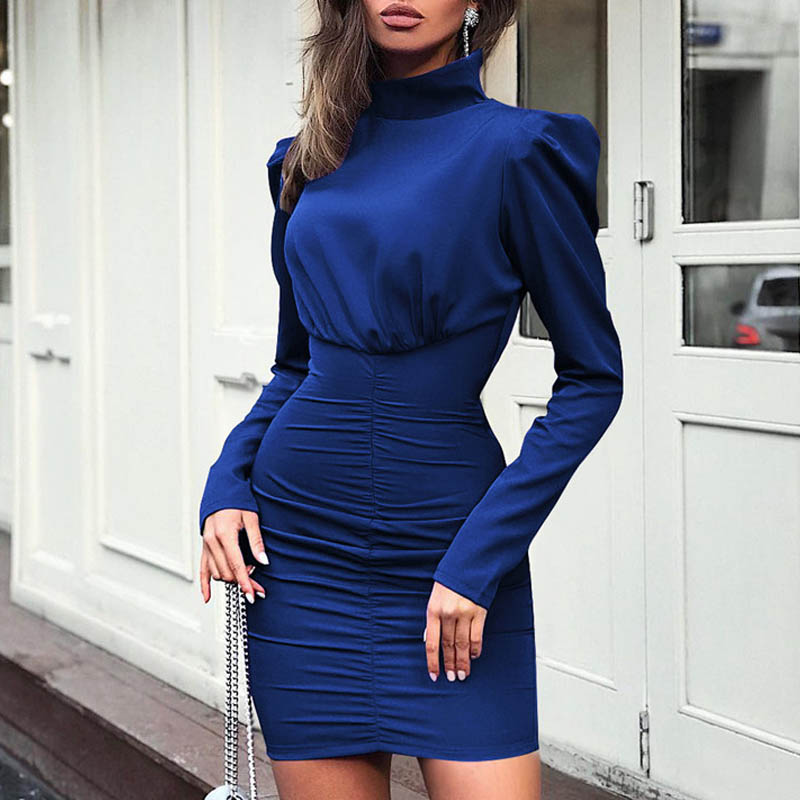 Image 4 - Fanbety New Autumn Puff shoulder long sleeve dress women Turtleneck solid belt mini dress Lady back zipper bodycon party dresses-in Dresses from Women's Clothing