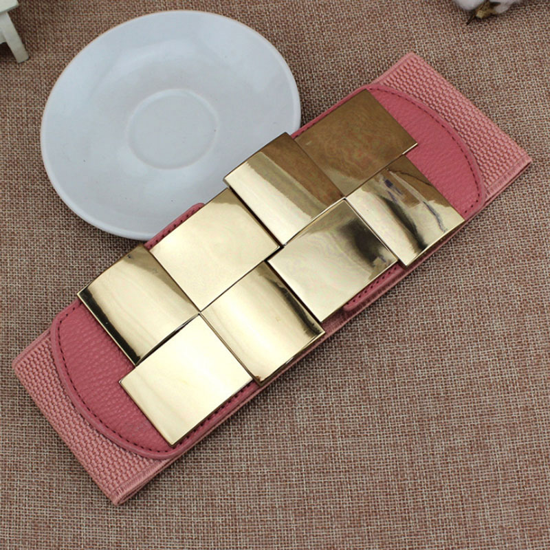 Candice Ingeniously Designed Women's Belt Shiny Geometric Square Metal Buttoned Dress Slim Fashion Stretch Wide Belt