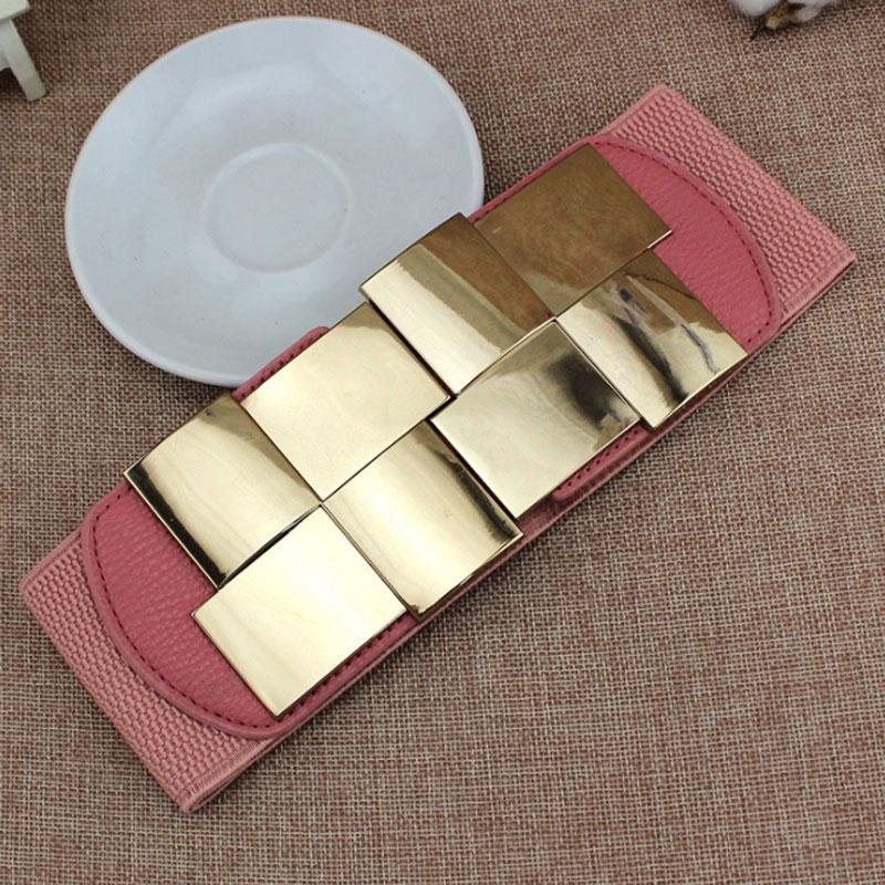 Candice Ingeniously Designed Women's Belt Shiny Geometric Square Metal Buttoned Dress Slim Fashion Stretch Wide Belt