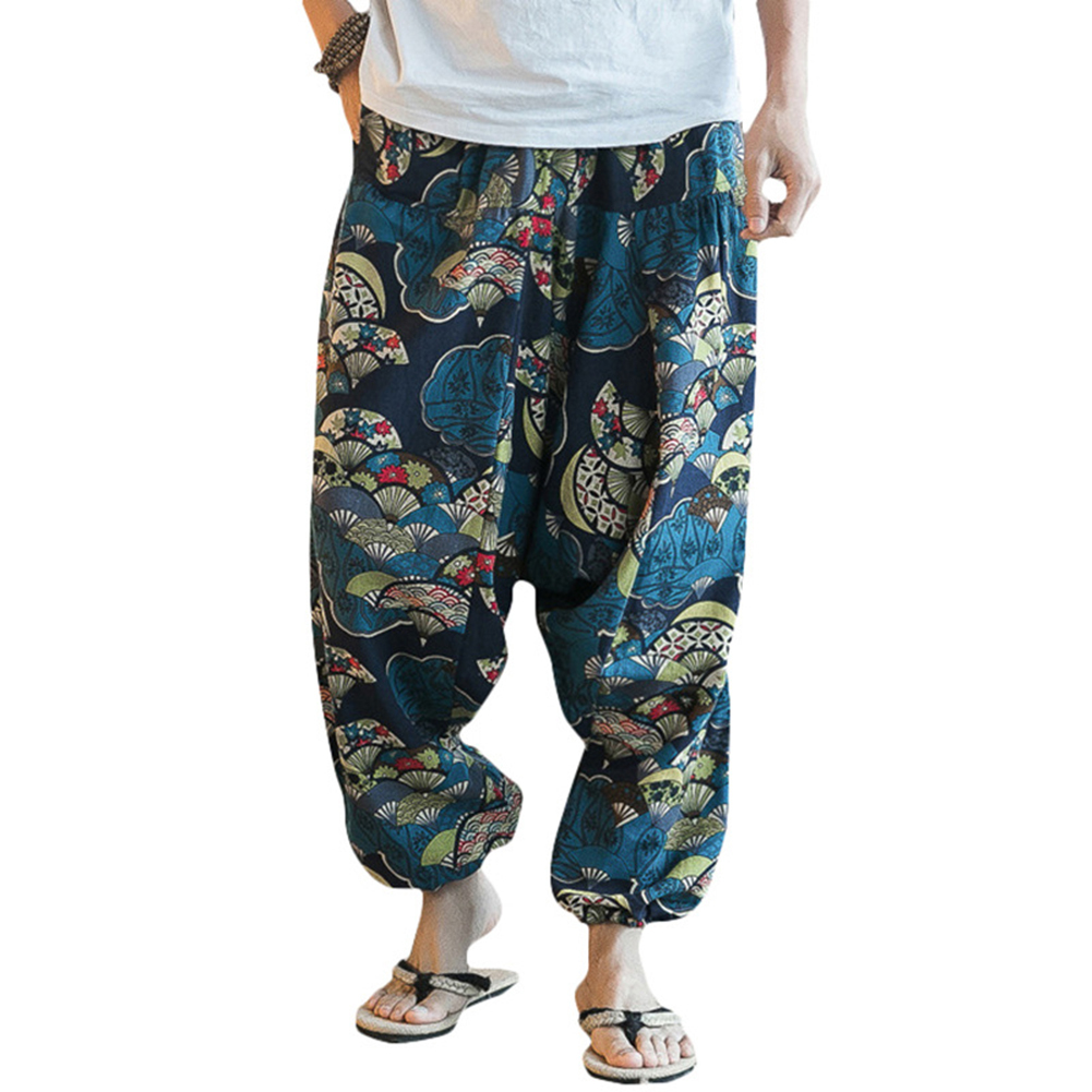 Hot Fashion Men Hip Hop Baggy Floral Print Harem Pants Wide Leg Casual Long Trousers Floral Print Harem Pants Wide Leg Trousers