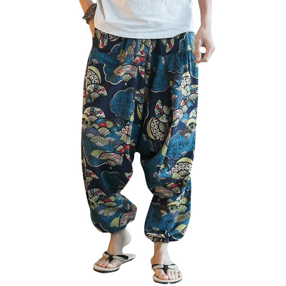 Hot Fashion Men Hip Hop Baggy Floral Print Harem Pants Wide Leg Casual Long Trousers Floral Print Harem Pants Wide Leg Trousers