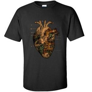 Hart Cardioid Schema Wereldkaart Vintage Mannen Tshirts Brand Nieuwe Kerst Camiseta 100 Katoen Afdrukken Anatomie Tee Shirt Man