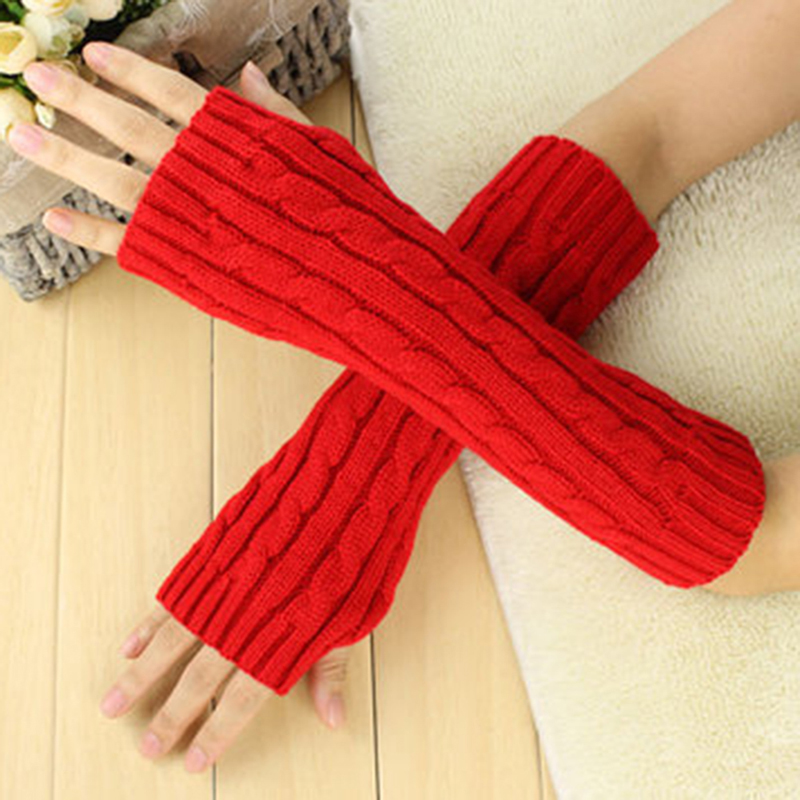Winter Knitted Wool Half Finger Long Gloves Women Cute Warm Fingerless Twist Gloves Solid Color Soft Female Arm Gloves Hot Sale