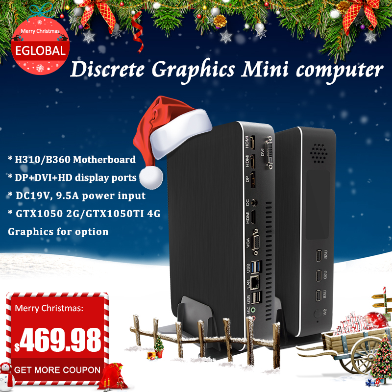 Eglobal Game PC Intel I7 8700 I5 9400F GTX1050TI 4G Nvidia GPU Win10 Pro Barebone Nettop Linux Desktop Computer WiFi 2*HDMI2.0