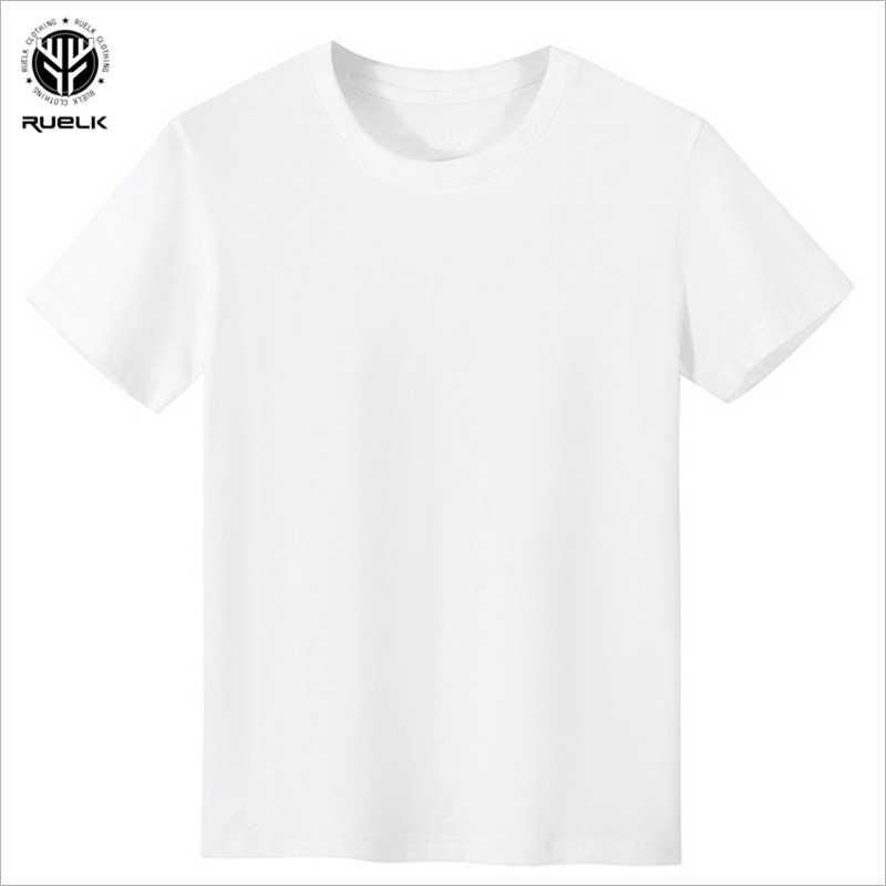 RUELK 2020 여름 패션 트렌드 클래식 퓨어 화이트 남성 라운드 넥 반팔 티셔츠 Bottoming Shirt 반팔 탑 M-2XL