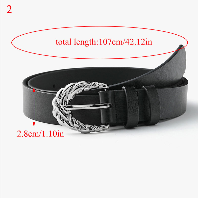 Waist Belt Carved Alloy Pin Buckle Alloy Decorative Black Waistband Women Belt Vintage Casual Geometric Buckle PU Leather