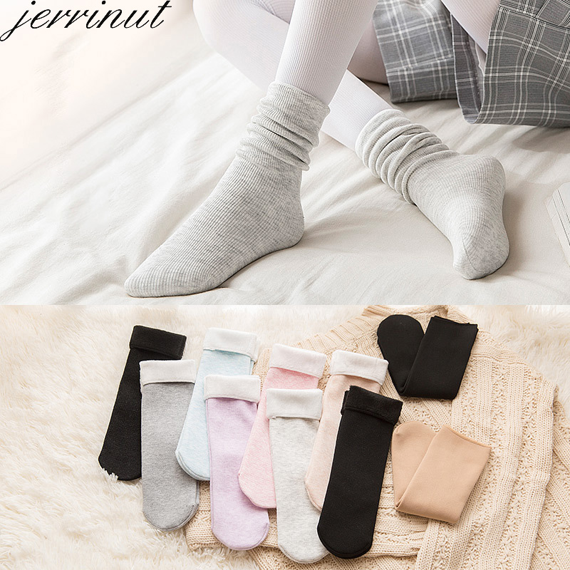 Jerrinut1 Pair Women Winter Warm Socks Cute Fashion Colorful Solid Color Soft Socks Thicken Breathable Cashmere Floor Snow Socks
