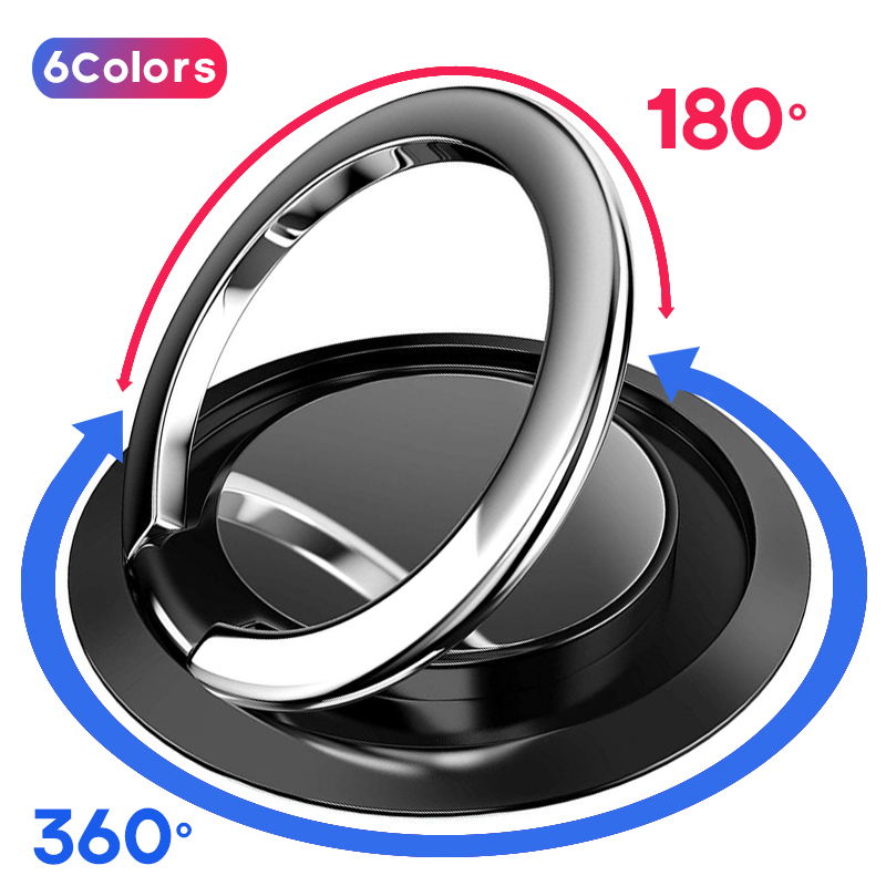 360 Rotate Metal Mobile Phone Ring Holder Magnetic Car Bracket Socket Telephone Ring Stand For Mobile Phones For IPhone Huawei