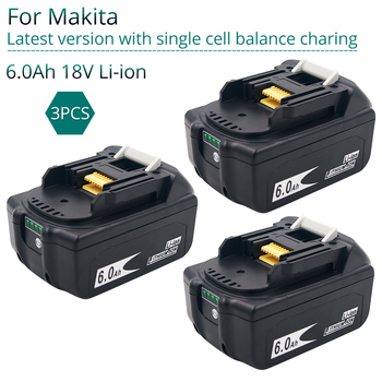 3PCS Latest Version BL1860 18V 6.0Ah Lithium Power Tools Replacement Battery for Makita BL1830 BL1840 BL1850 Balance Charging