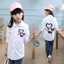 2019 Autumn girls little cat print on the shirt for jacket 5 6 8 10 12 Year Kids white DX03022