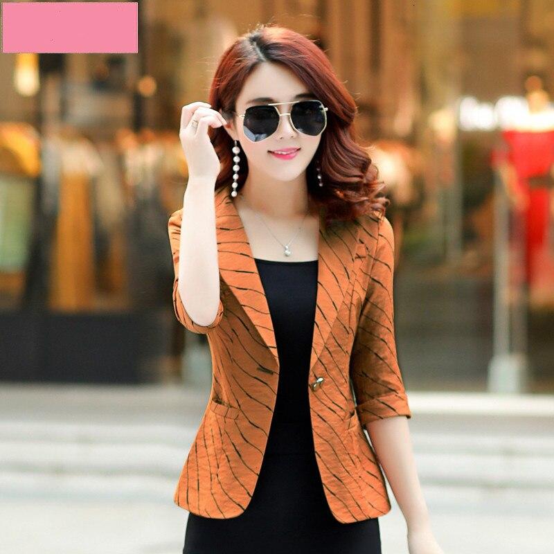 Seven Part Sleeve Stripe Small Suit Woman Blazer Jacket Short Loose Coat 2019 Autumn Casual Women's Suit Jacket