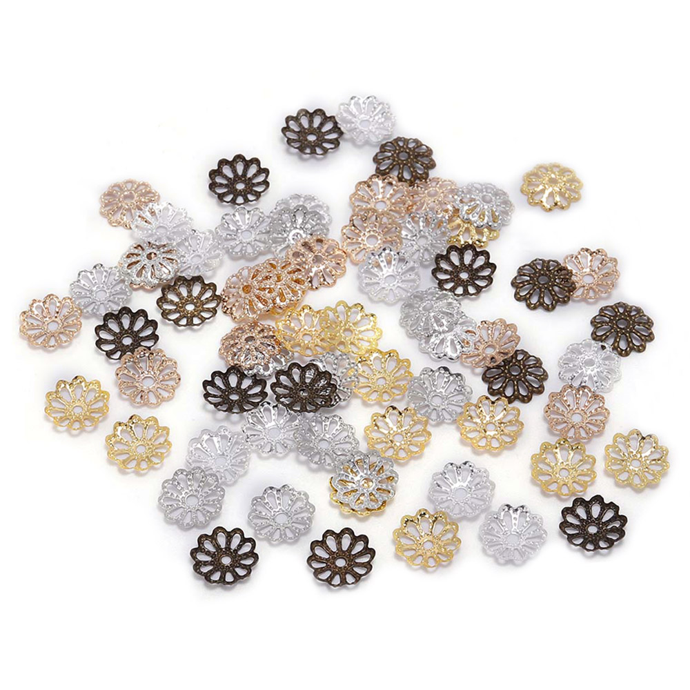 200pcs 7 9mm Silver Gold Flower Petal Beads Caps Bulk End Spacer Charms Bead Caps For Jewelry Making Accessories DIY Supplies