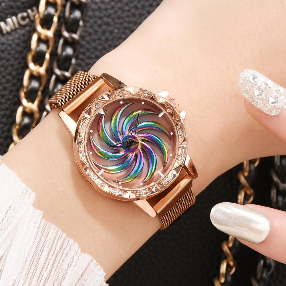 Dropshipping Watch Women Magnet Buckle Rotating Watch Luxury Ladies Stainless Steel Quartz Wristwatches Clock Relogio Feminino
