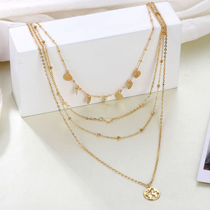 ZOVOLI Boho Multi Layered Map Pendant Necklace Sets For Women Gold Sequins Long Chains Star Bead Necklaces Fashion Jewerly